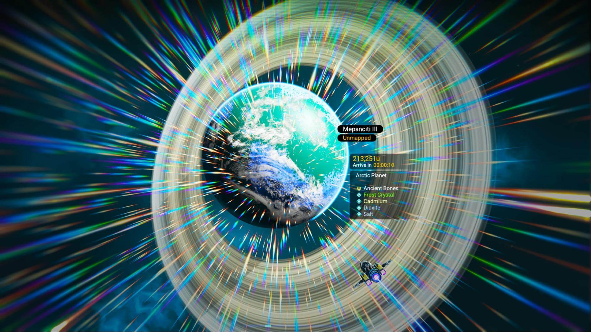 Approach to Mepanciti III in light speed in No Man's Sky Visions